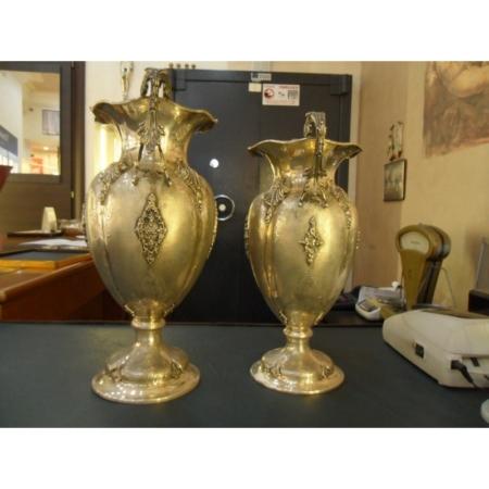 Due Portafiori in Argento massiccio 800% Stile napoletano inizio 900